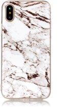 Mobigear Marmer Softcase Hoesje Wit iPhone X / Xs