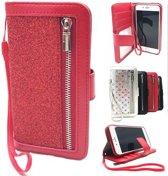 iPhone 6 Plus hoesje, iphone 6/6S Plus Rode Glitter Wallet / Book Case / Boekhoesje/ Telefoonhoesje met rits en hoesjeswebstylus