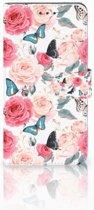 Huawei Mate 8 Uniek Boekhoesje Butterfly Roses