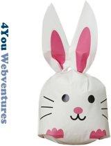 50x Uitdeelzakjes Wit - Roze Konijn 13 x 22 cm - Plastic Traktatie Kado Zakjes - Snoepzakjes - Koekzakjes - Koekje - Cookie Bags - Pasen - Kinderverjaardag - Feestje