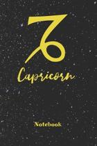 Capricorn Zodiac Sign Notebook: Astrology Journal, Horoscope Notepad, Notes, 120 Pages, blanc lined, 6'' x 9'' diary