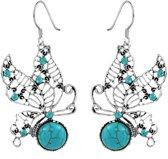 Fako Bijoux® - Oorbellen - Tibetaanse Stijl - Turquoise - Vlinder Bal