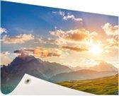 Zonsondergang in de bergen Tuinposter 120x80 cm - Tuindoek / Buitencanvas / Schilderijen voor buiten (tuin decoratie)