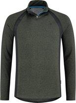 Redmax Heren trainingsshirt met lange mouwen 1/2 rits Dry-cool mesh-rugpad en details - Groen space dye - Maat: XL
