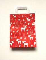 """50 papieren Kersttassen / Kerst draagtassen / Kersttasjes 32x12x40cm """"red elk"""" (Levering in België 1-2 dagen, naar Nederland 2-4 dagen)"""