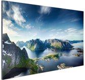 Panoramisch uitzicht Lofoten Noorwegen Aluminium 180x120 cm - Foto print op Aluminium (metaal wanddecoratie) XXL / Groot formaat!