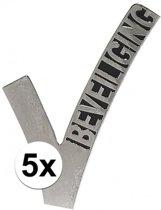 5x Beveiligings embleem - 6,5 cm - beveiliger pin