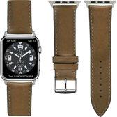 Italiaans leder Top kwaliteit Apple watch horlogebandje Honing (42mm)  zilveren adapter