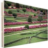 De tuin van het Kasteel van Chenonceau Vurenhout met planken 60x40 cm - Foto print op Hout (Wanddecoratie)
