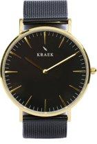 KRAEK Meena Goud Zwart 36 mm - Dames Horloge - Zwart Mesh horlogebandje