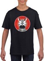 Kinder t-shirt zwart met vrolijke zebra print - zebras shirt XS (110-116)