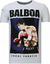 Local Fanatic Balboa - Rhinestone T-shirt - Wit - Maten: XXL