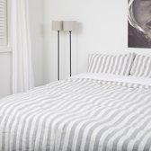 linnen dekbedovertrek 240x220 - grijs/ wit