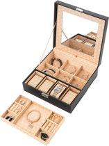 Treasury Square Sieradendoos - Luxe Juwelendoos met spiegel - Opbergbox kunstleder - Zwart
