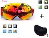 Ski bril + hard case lens Smoke Red frame Roze F type 10 Cat. 0 tot 4 - ☀/☁  extra lens is optie.