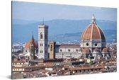 Panorama van de Dom van Florence Aluminium 120x80 cm - Foto print op Aluminium (metaal wanddecoratie)