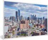 Foto in lijst - De stedelijke horizon van Shenyang in China fotolijst wit 60x40 cm - Poster in lijst (Wanddecoratie woonkamer / slaapkamer)
