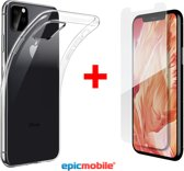 Epicmobile - iPhone 11 Pro Max Transparant Silicone hoesje  + Screenprotector - Tempered Glass  - Combideal