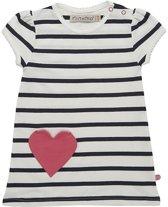 Minymo - jurk -  hart - YD stripe - wit blauw - Maat 86