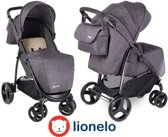 Makkelijk opvouwbare Lionelo Elise kinderwagen met luifel en veel accessoires donker grijs