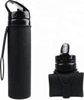 D'AZ Quelle oprolbare/opvouwbare waterfles 600 ml- zwart. Ideaal voor Sporten, Bootcamp, Fitness, CrossFit, Gym, Yoga, Fit, Kamperen, Reizen.