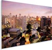 Een roze getinte schemering valt over São Paulo in Brazilië Plexiglas 90x60 cm - Foto print op Glas (Plexiglas wanddecoratie)