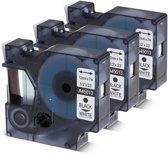 3 x Dymo 45013 Zwart op Wit Standaard Label Tapes
