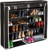 TecTake schoenenkast - dubbel - 6 niveaus - zwart - 402532
