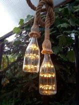 Touwlampen, hanglampen van 2x1.5 meter met zwarte plafondplaat inclusief twee sierlijke retro ledlamp in de vorm van een fles.