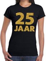25 jaar goud glitter verjaardag t-shirt zwart dames - verjaardag / jubileum shirts XL