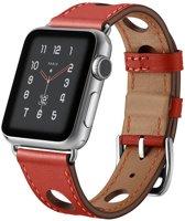 123Watches.nl Leren bandje - Apple Watch Series 1/2/3/4 (42&44mm) - Rood