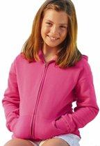 Fuchsia roze katoenmix vest met capuchon voor meisjes 128 (7-8 jaar)