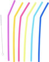 Rietjes 28 cm herbruikbaar / afwasbaar - 6 stuks gekleurd - wasbare en herbruikbare drinkrietjes