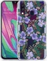 Galaxy A40 Hoesje Purple Flowers