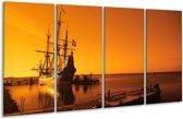 Glasschilderij Boot | Oranje, Bruin, Zwart | 160x80cm 4Luik | Foto print op Glas |  F000081