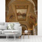 Fotobehang vinyl - Unieke architectuur in het Vaticaanse Musea breedte 350 cm x hoogte 380 cm - Foto print op behang (in 7 formaten beschikbaar)