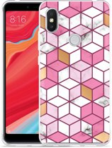 Xiaomi Redmi S2 Hoesje Pink-gold-white Marble