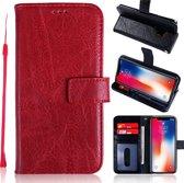 H.K. Leer boekhoesje rood geschikt voor Apple Iphone XR