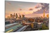 De skyline van Londen met de Millennium Bridge op de voorgrond Aluminium 90x60 cm - Foto print op Aluminium (metaal wanddecoratie)