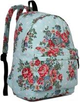 Miss Lulu Rugzak - Schooltas - Schoolrugzak Bloemen- Premium Kwaliteit - Blauw (e1401f be)
