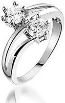 Montebello Ring Double Love - Dames - Zilver Gerhodineerd - Zirkonia - Maat 60 - 19