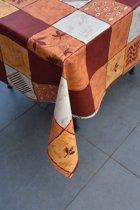 Stof Bedrukt Tafelzeil – Tafelkleed – Tafellaken – Afwasbaar – Duurzaam – Rood - Oranje  - 150 x 300 cm