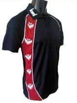 KWD Poloshirt Pronto korte mouw - Zwart/rood - Maat S
