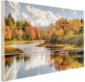 Herfstlandschap  Hout 60x40 cm - Foto print op Hout (Wanddecoratie)