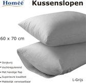 Homéé ® Kussenslopen 100% Katoen - 60x70/17cm - set van 4 stuks - grijs