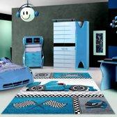 Flycarpets Kids vloerkleed - Blauw 80 X 150 CM Kinderkamer Raceauto F1