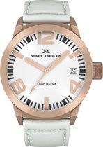 Marc Coblen MC50R3 - Horloge - 50 mm - Witte wijzerplaat - Witte horlogeband