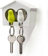 Qualy sleutelhouder vogelhuisje Sparrow Couple - Wit - Groen