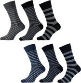 Apollo Heren Fashion Sokken - 6-pack - Grijs/Zwart/Blauw - Maat 40-46