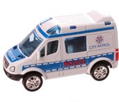 Jonotoys Politieauto 8,5 Cm Wit Met Pullback